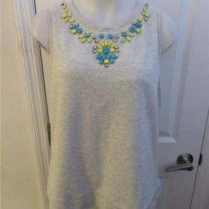 BOUNDARY GRAY SLEEVELESS TOP W/BEJEWELED L